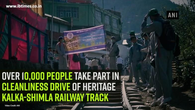 Over 10,000 people take part in cleanliness drive of heritage Kalka-Shimla Railway track