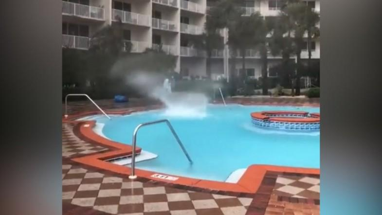 Subtropical Storm Alberto Causes Mini-waterspout In Hotel Pool