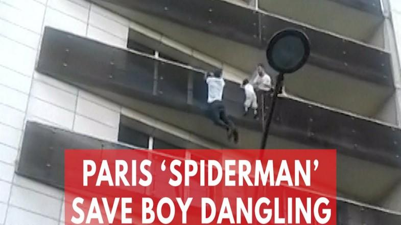 Watch Heart-Stopping Moment Paris Spiderman Scales Building To Save Dangling Boy