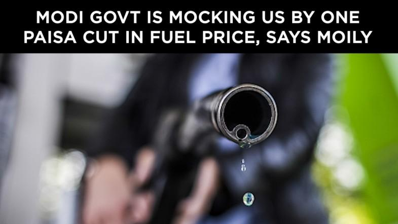 Modi govt is mocking us by one paisa cut in fuel price, says Moily