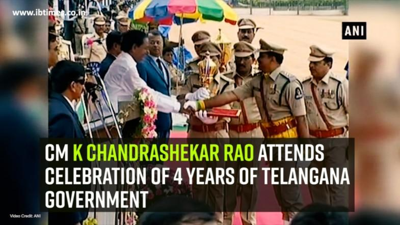 CM K Chandrashekar Rao attends celebration of 4 years of Telangana Government