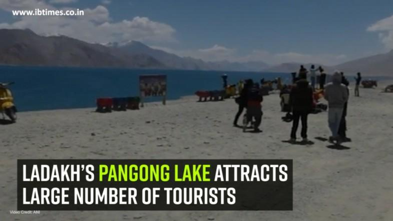 Ladakh's Pangong Lake attracts large number of tourists