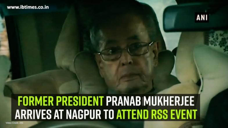 Former President Pranab Mukherjee arrives at Nagpur to attend RSS event