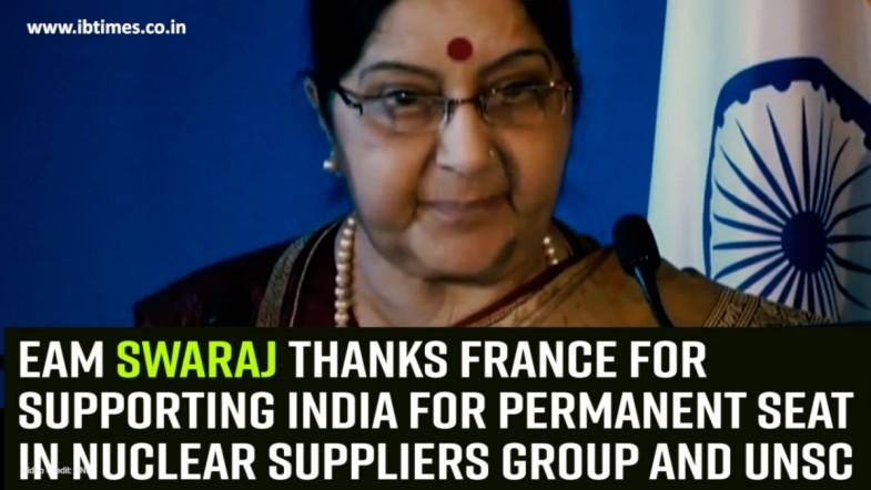 EAM Swaraj thanks France for supporting India for permanent seat in Nuclear Suppliers Group and UNSC