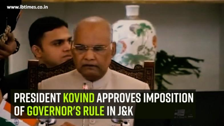 President Kovind approves imposition of Governors rule in J and K