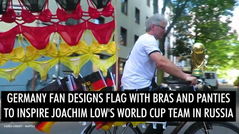 Germany fan designs flag with bras and panties to inspire Joachim Low's World Cup team in Russia