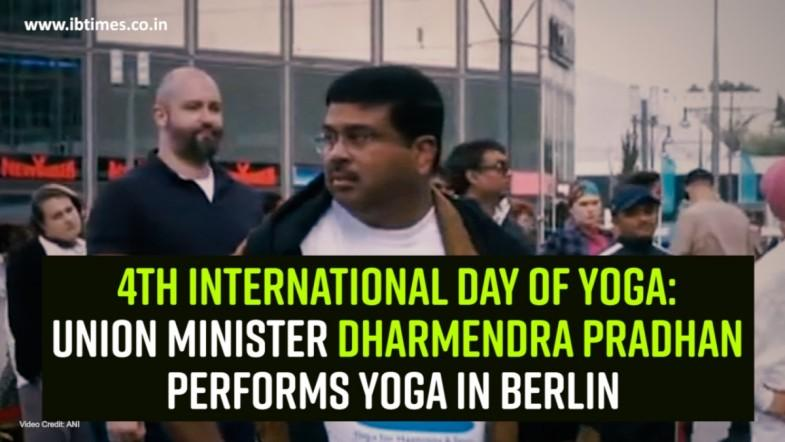 4th International Day of Yoga: Union Minister Dharmendra Pradhan performs yoga in Berlin