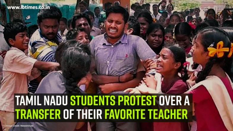 Tamilnadu students protest over a transfer of their favorite teacher