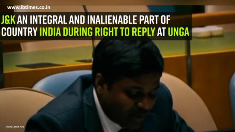 J and K an integral and inalienable part of country India during right to reply at UNGA