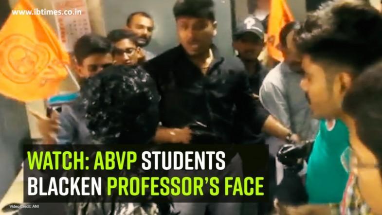 Watch: ABVP students blacken professor's face