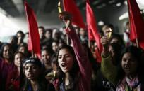 Women protesting in Delhi on Nirbhaya gangrape anniversary