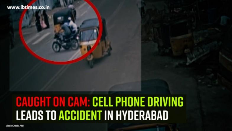 Caught on cam: Cell Phone driving leads to accident in Hyderabad