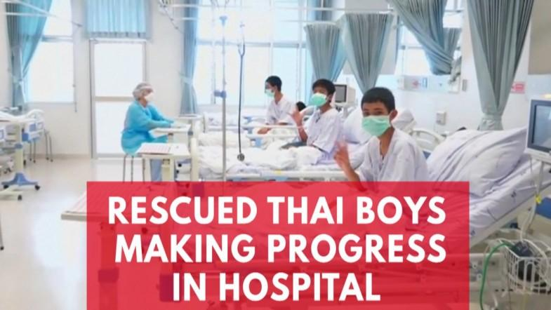Thai Cave Boys Shown Making Peace Signs in Hospital In First Video Since Their Rescue
