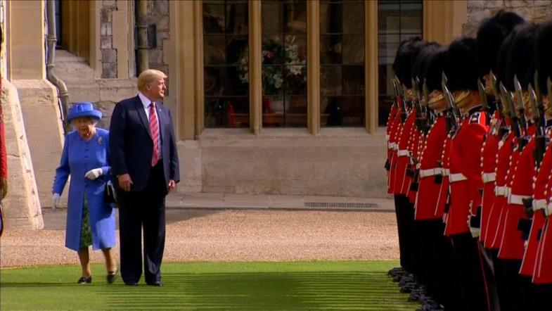 Queen Elizabeth Forced To Walk Around Trump When He Stops Suddenly In Awkward Moment