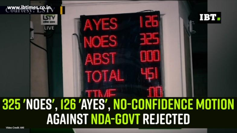 325 Noes, 126 Ayes, No-Confidence Motion against NDA-Govt rejected