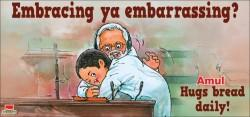 Amul's take on Rahul hugging Modi