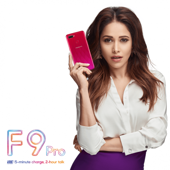 Nushrat Bharucha shows off Oppo F9 Pro