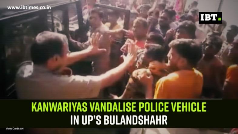 Kanwariyas vandalise police vehicle in UP's Bulandshahr