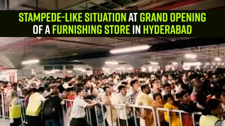 Stampede-like situation at grand opening of a furnishing store in Hyderabad