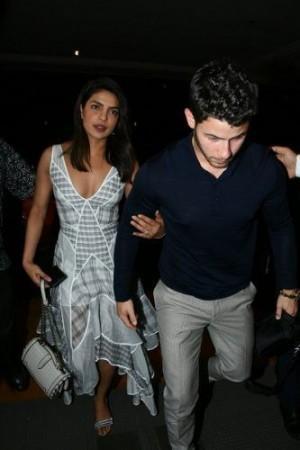 Priyanka Chopra and Nick Jonas in Mumbai on August 17.