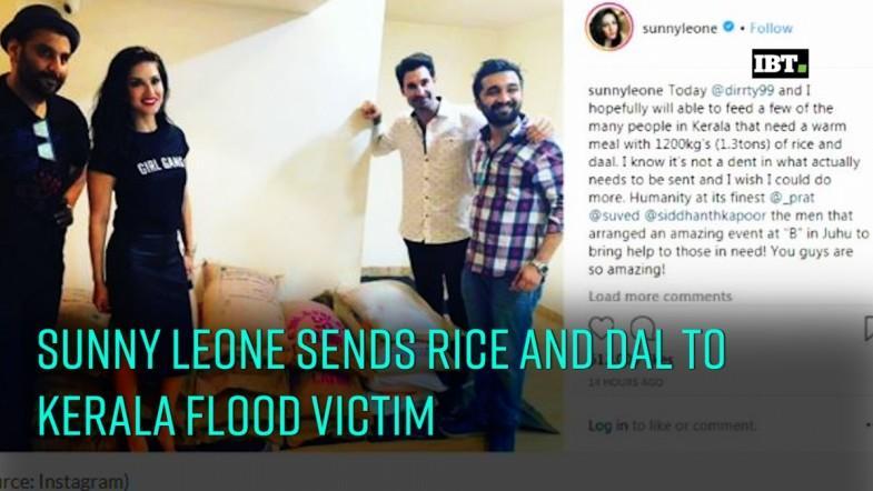 Sunny Leone donates rice and dal to Kerala flood victims