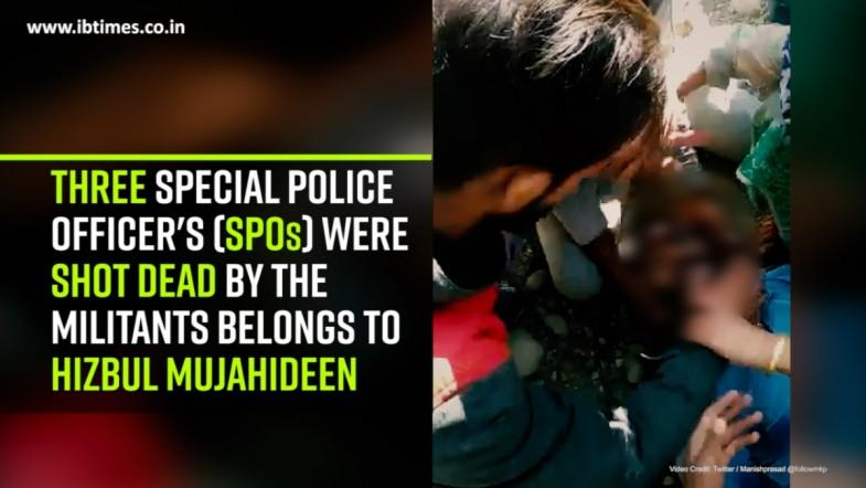 Three Special Police Officers (SPOs) were shot dead by the Militants belongs to Hizbul Mujahideen