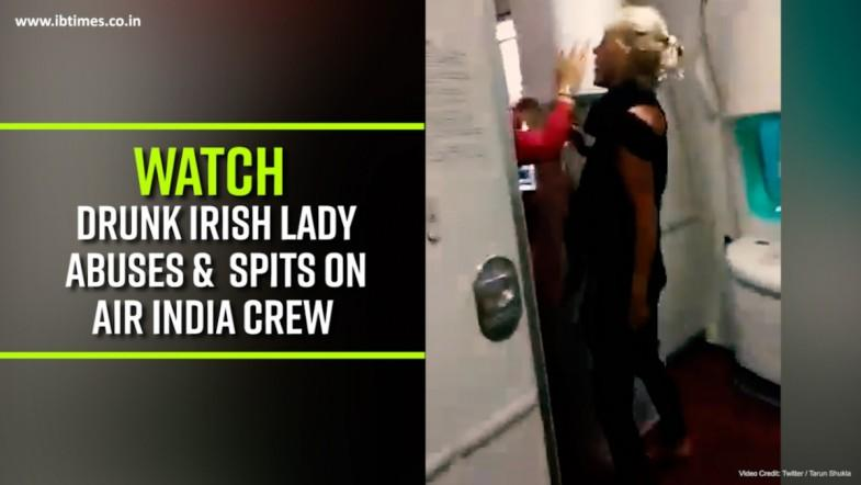 Watch: Drunk Irish Lady Abuses and  spits on Air India crew