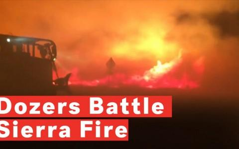 Dozers Battle Sierra Fire In San Bernardino, California