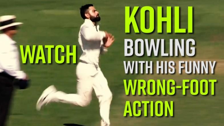 Watch: Kohli Bowling with his funny wrong-foot action