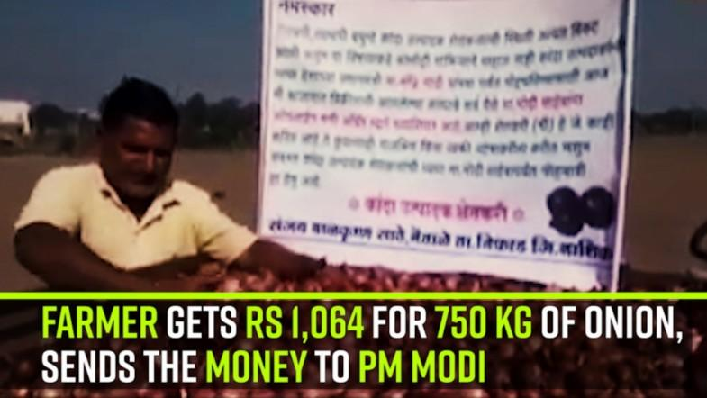 Farmer gets Rs 1,064 for 750 kg of onion, sends the money to PM Modi