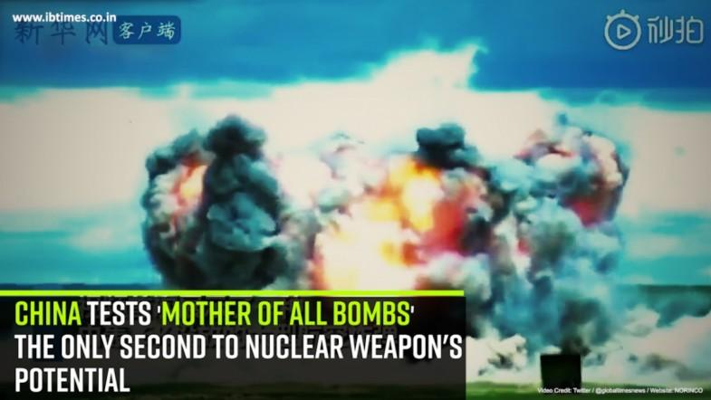 China tests mother of all bombs The only second to nuclear weapons Potential