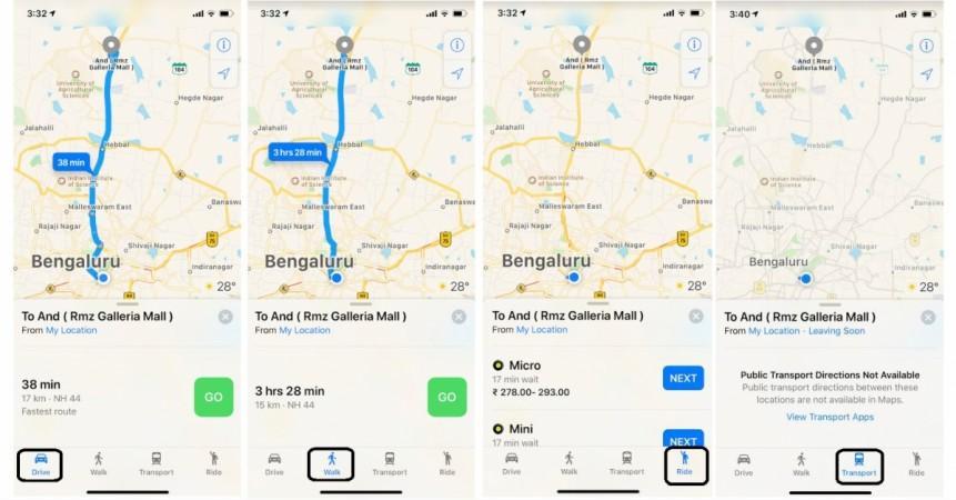 Apple Haritalar, navigasyon, adım adım rehber, Hindistan,