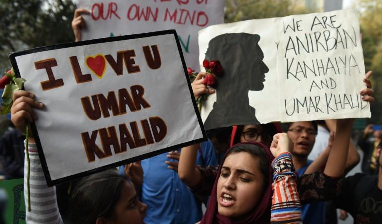 Indian students and activists shout slogans and protest against the arrest of an Indian student for sedition in New Delhi on March 2, 2016.