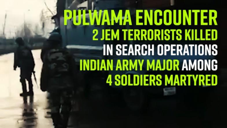 2 JeM terrorists killed in search operations; Indian Army Major among 4 soldiers martyred