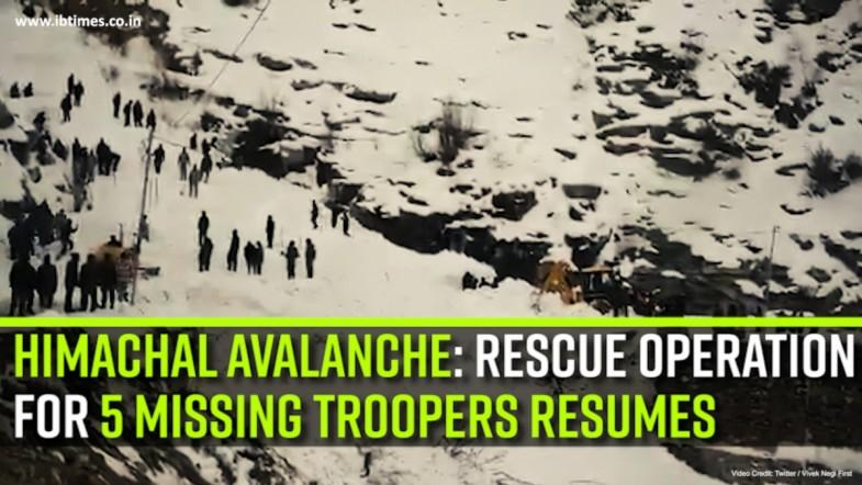 Himachal avalanche: Rescue operation for 5 missing troopers resumes