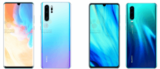 Huawei P30 Pro (L) and P30 leaked renders