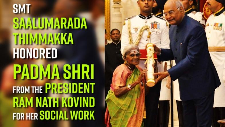 Watch: Smt Saalumarada Thimmakka  honored Padma Shri from the President Ram Nath Kovind for her social work
