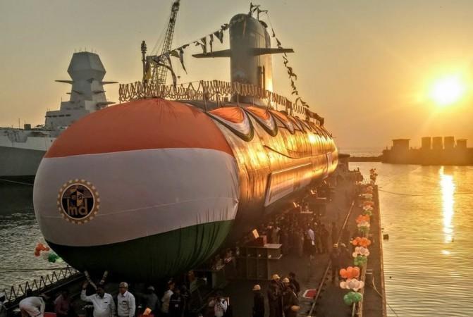 Indian Navy's fourth Scorpene-class submarine INS Vela at its launch in Mumbai's Mazagon Docks.