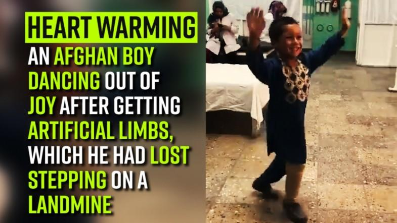 Heart Warming | An Afghan boy dancing out of joy after getting artificial limbs, which he had lost stepping on a landmine