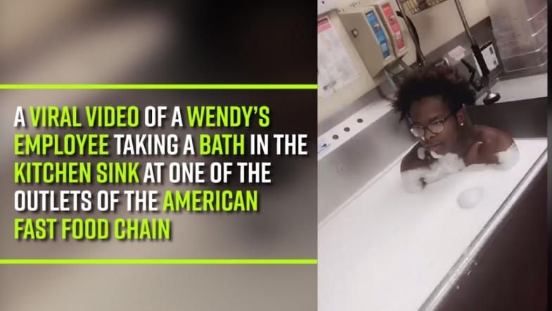 A viral video of a Wendy's employee taking a bath in the kitchen sink at one of the outlets of the American fast food chain