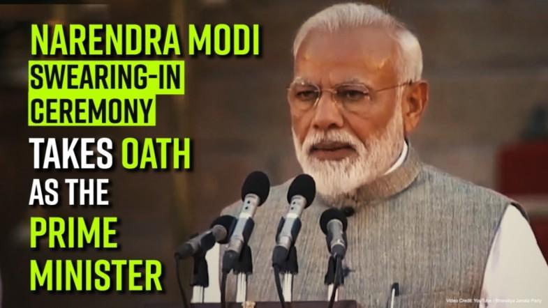 Narendra Modi swearing-in ceremony, Modi takes oath as the Prime Minister