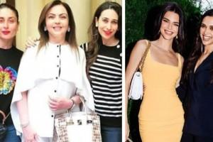Karisma and Kareena Kapoor with Nita Ambani, Kendall Jenner with Deepika Padukone