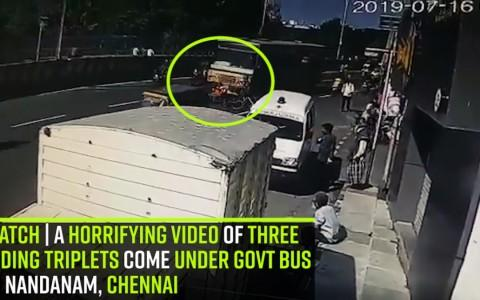 Watch | A Horrifying Video of three riding triplets come under govt bus in Nandanam, Chennai
