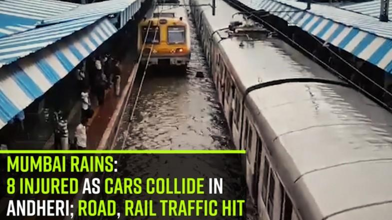 Mumbai rains: 8 injured as cars collide in Andheri; road, rail traffic hit