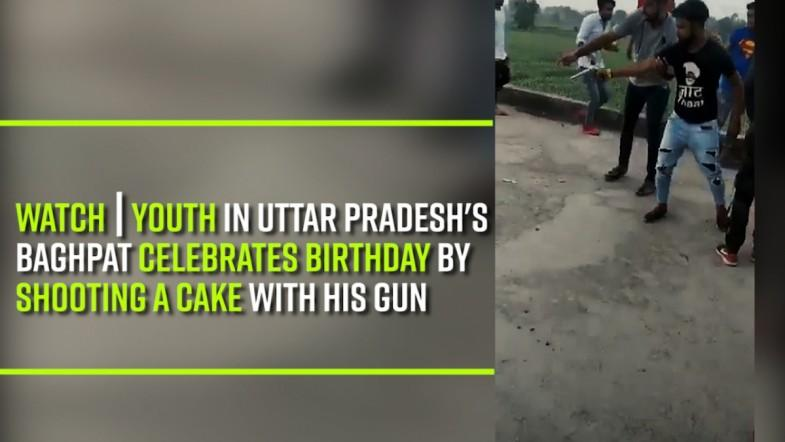 Watch | Youth in Uttar Pradeshs Baghpat celebrates birthday by shooting a cake with his gun