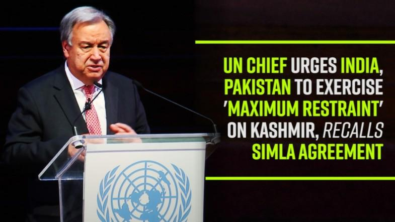UN chief urges India and Pakistan to exercise maximum restraint on Kashmir, recalls Simla agreement