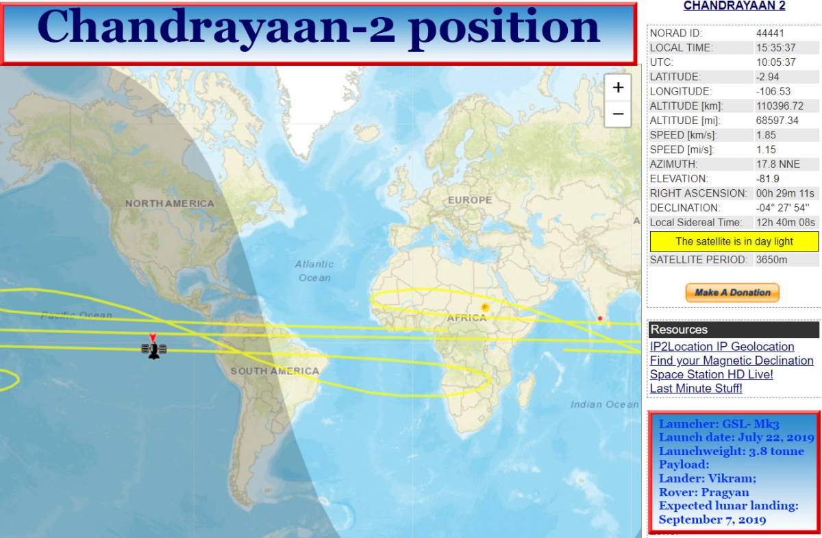 Chandrayaan-2 set on course to leave Earth orbit; put on risky lunar trajectory