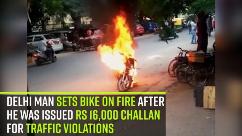 Delhi man sets bike on fire after he was issued Rs 16,000 challan for traffic violations