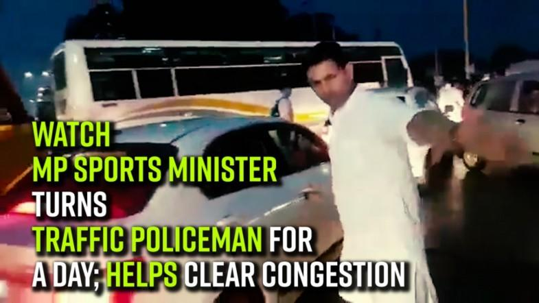 WATCH | MP sports minister turns traffic policeman for a day; helps clear congestion