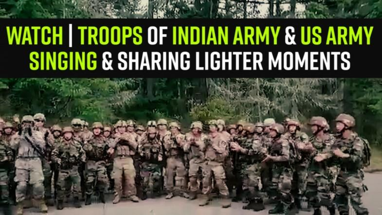 Watch | Troops of Indian Army and US Army Singing and sharing lighter moments after practicing gruesome Training Session
